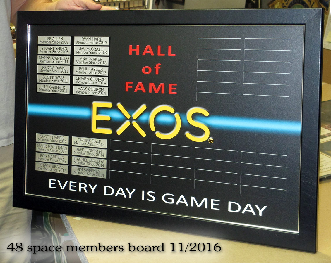 EXOS Gym Members Board from Badge Frame