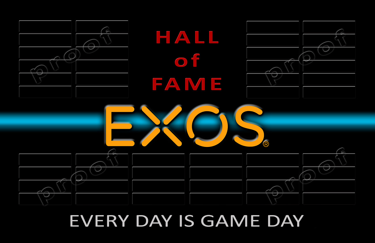 EXOS - Hall of Frame Perpetual Plaque from Badge               Frame