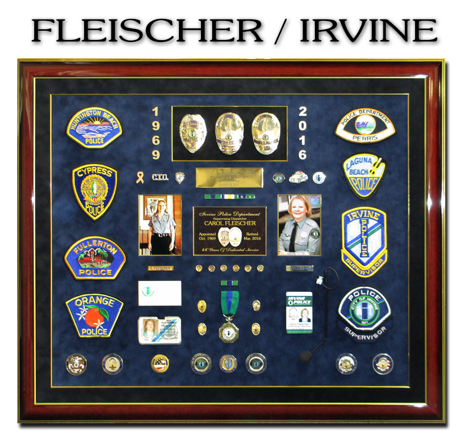 Fleischer - Irvine PD               Dispatcher Career Shadowbox Presentation from Badge Frame