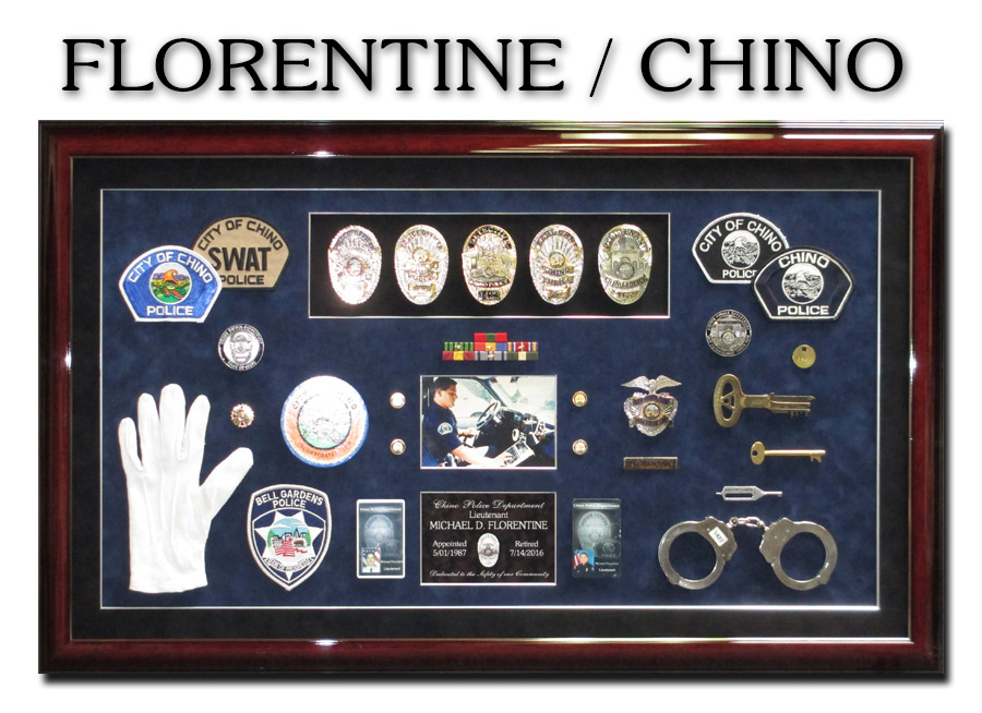 Florentine /                             Chino PD Retirement Presentation from Badge                             Frame