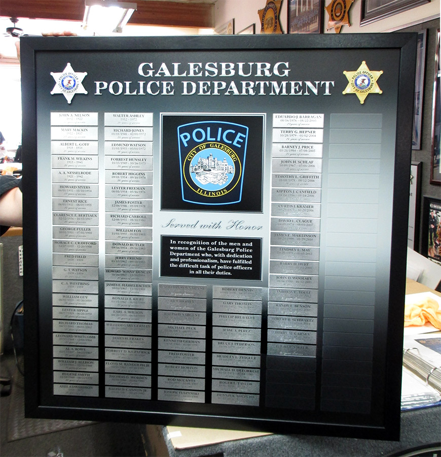 Galesburg PD Perpetual Plaque from Badge Frame