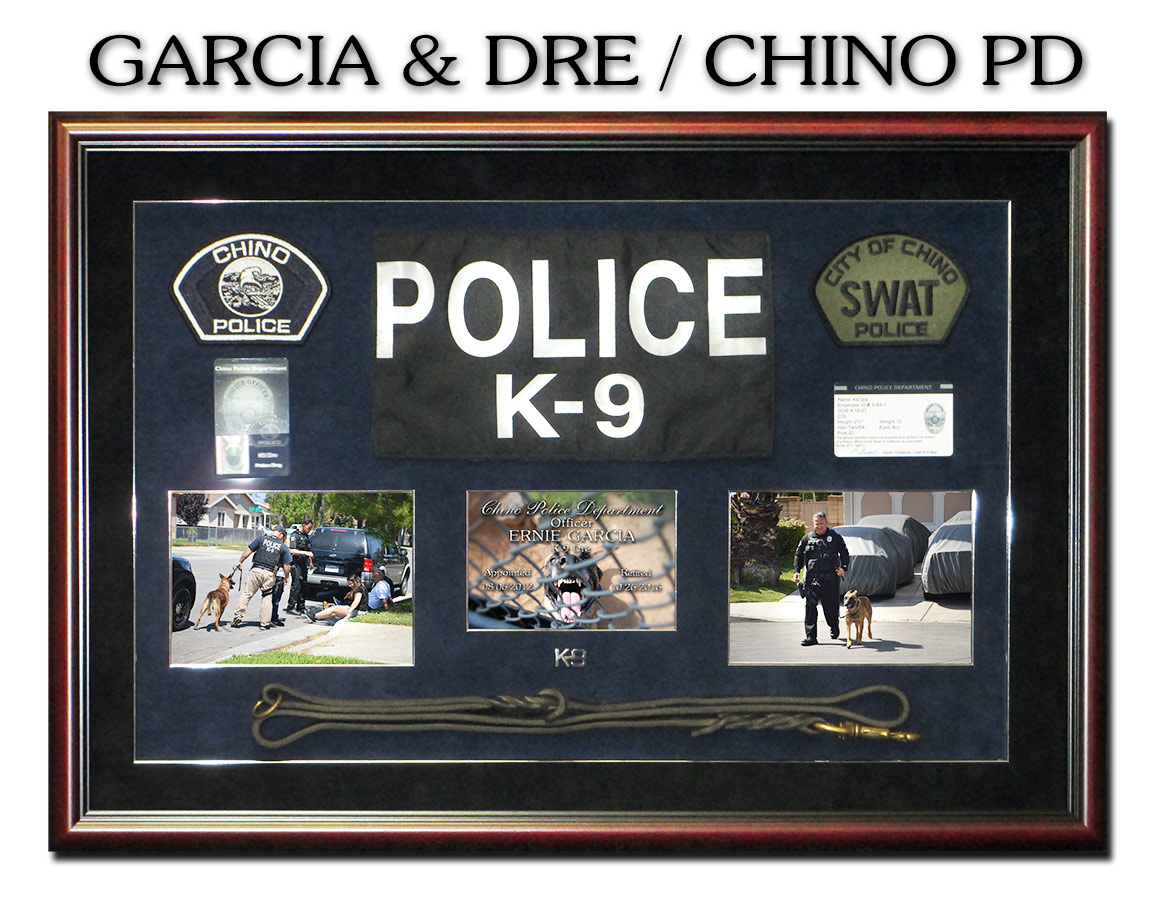 K-9 Shadowbox from Badge Frame for Garcia & Dre - Chino PD