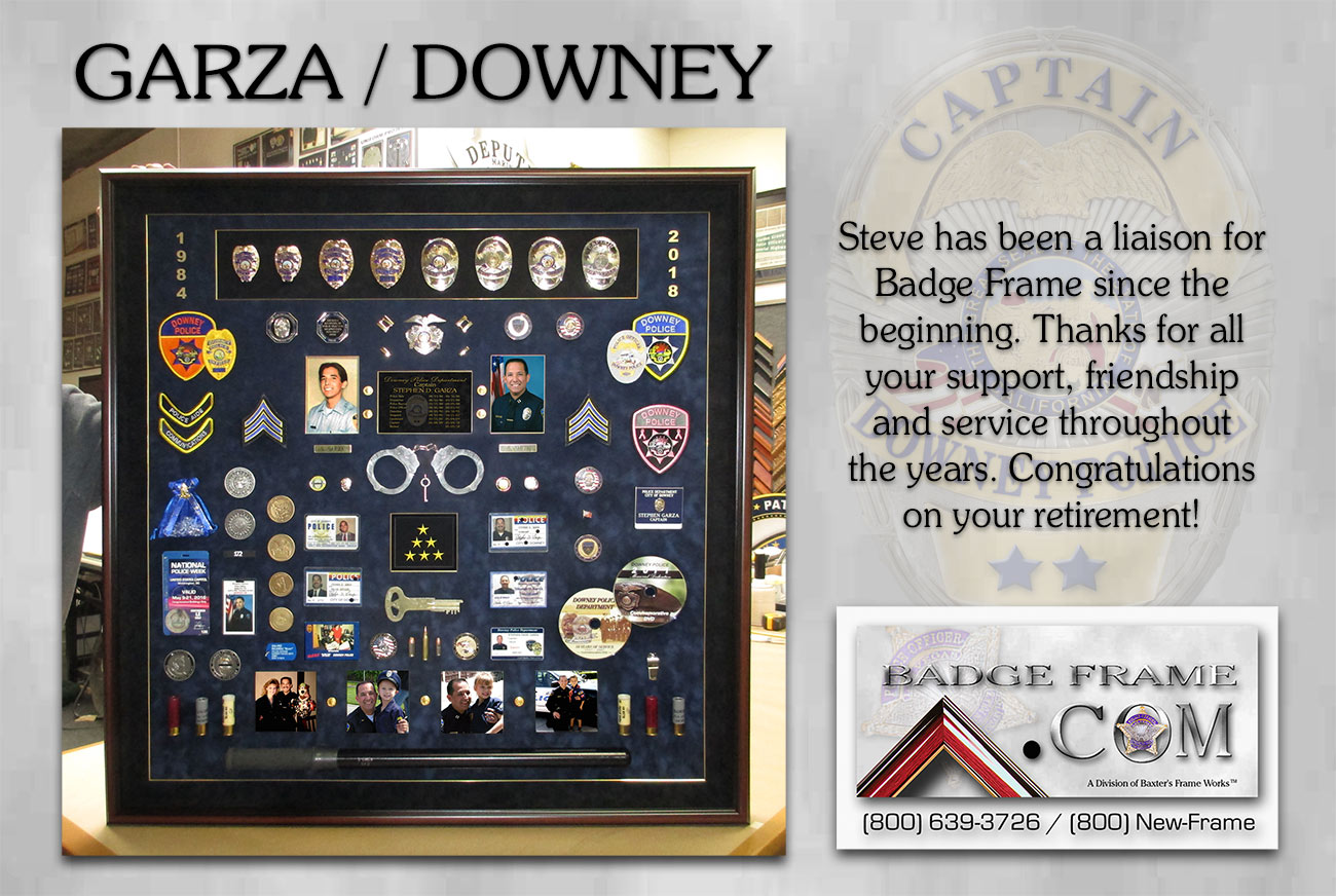 Steve Garza / Downey PD Retirement Presentation from Badge Frame