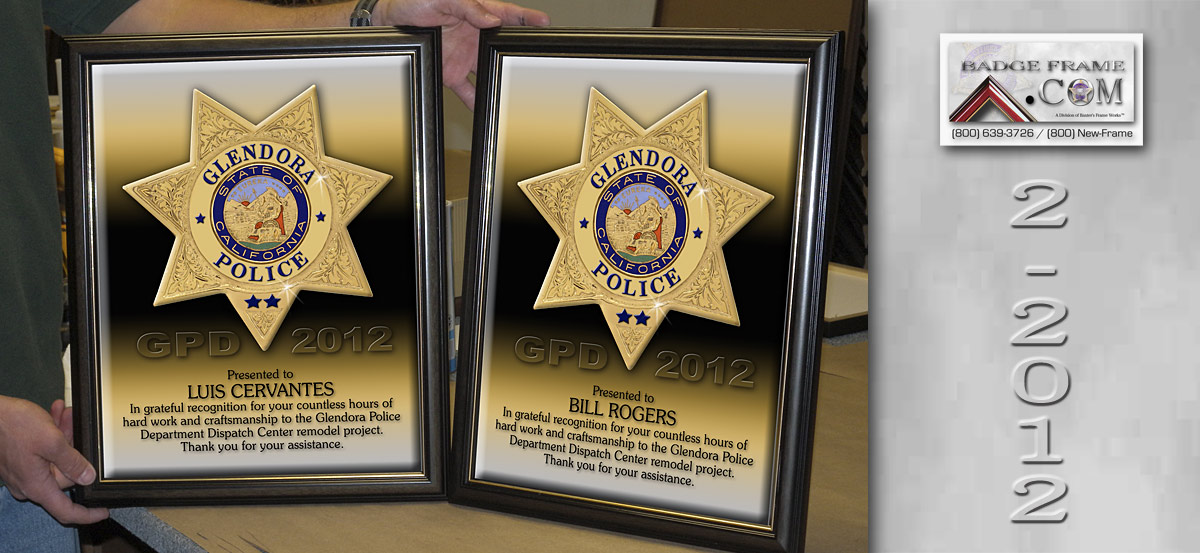 Glendora PD - Recognition Certs