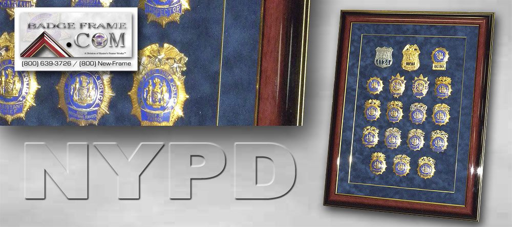 NYPD Badges Framed.