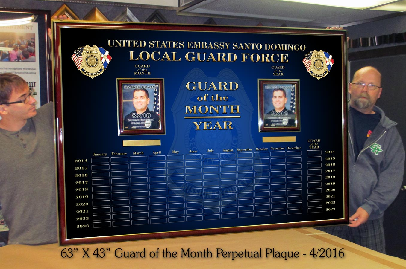 Diplomatic           Security Service - Guard on the Month / Year Perpetual Plaque           from Badge Frame