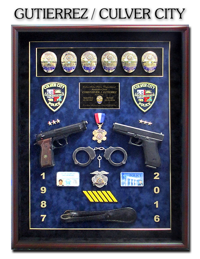 Gutierrez - Culver City Police Shadowbox from Badge             Frame