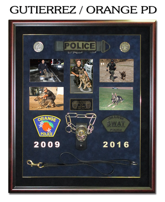 Gutierrez - Orange PD - K-9           Shadowbox from Badge Frame