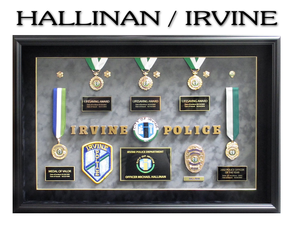 Irvine PD - Mike Hallinan          Life Saving Medals from Badge Frame