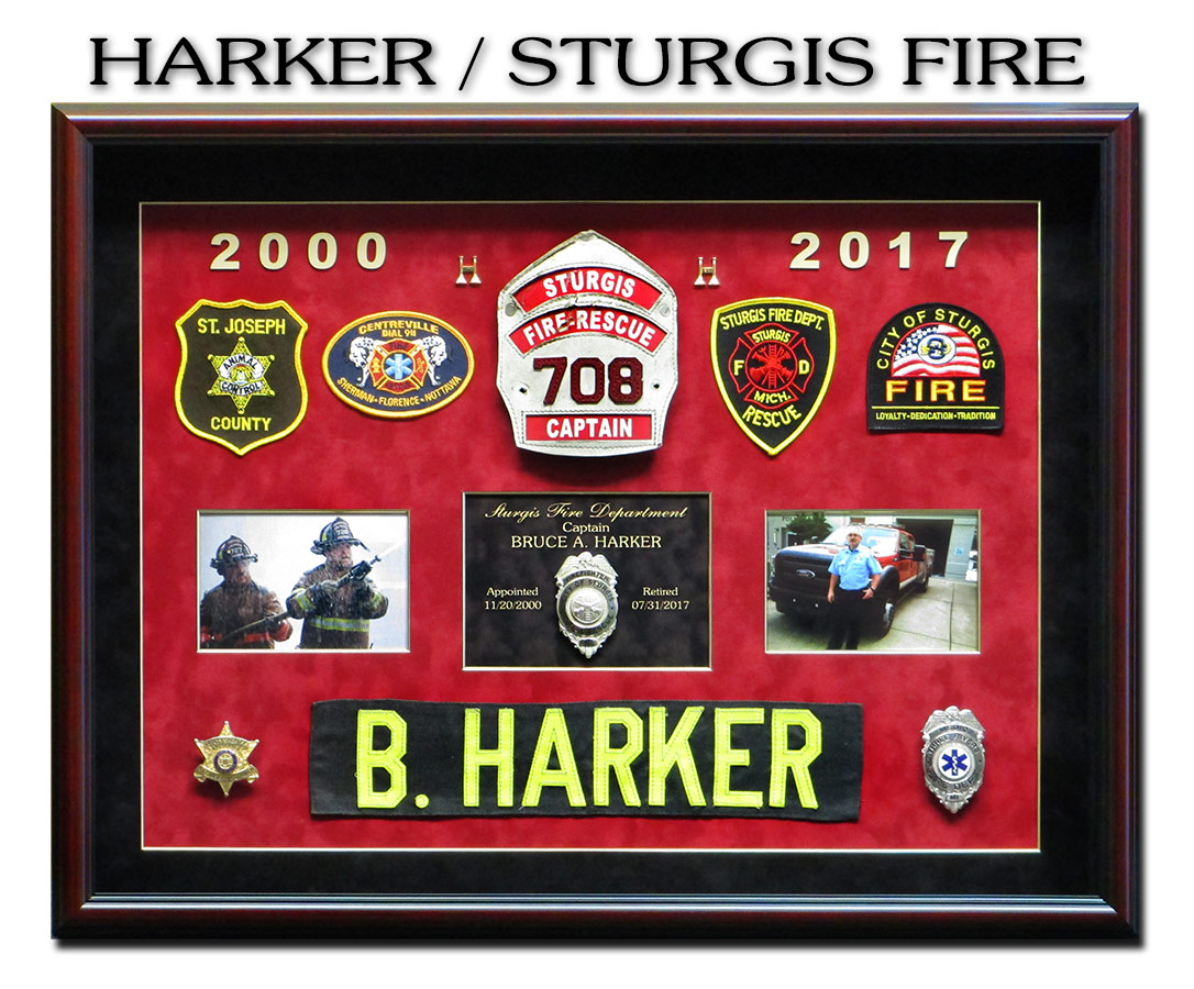 Harker Fire           Shadowbox for Sturgis Fire from Badge Frame