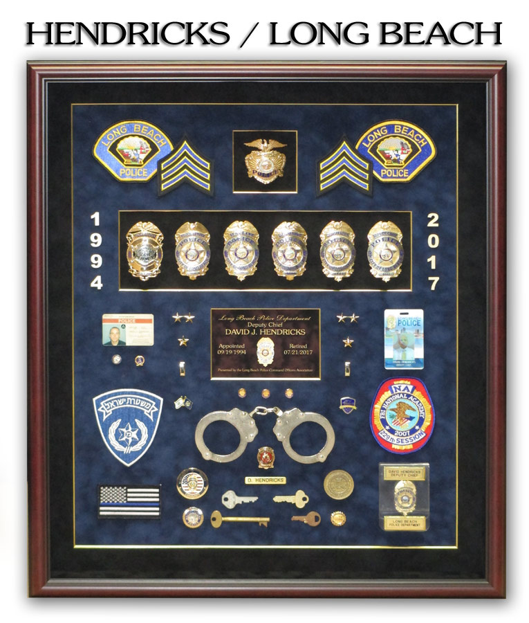 Hendricks / Long Beach PD Retirement Shadowbox from Badge Frame