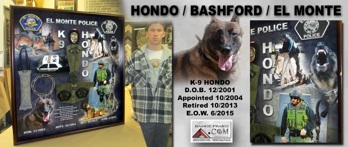 K-9 Hondo and Partner Eric Bashford / El Montre PD presentation from Badge Frame