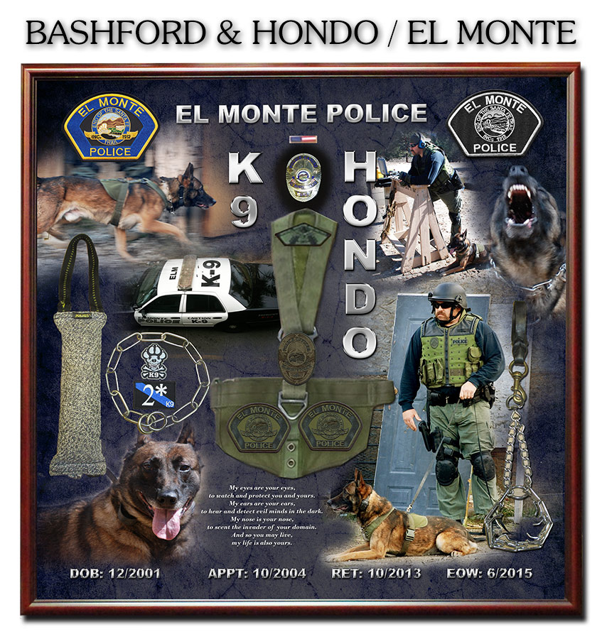 K-9 Shadowbox by Badge Frame for Bashford and Hondo - El Monte PD