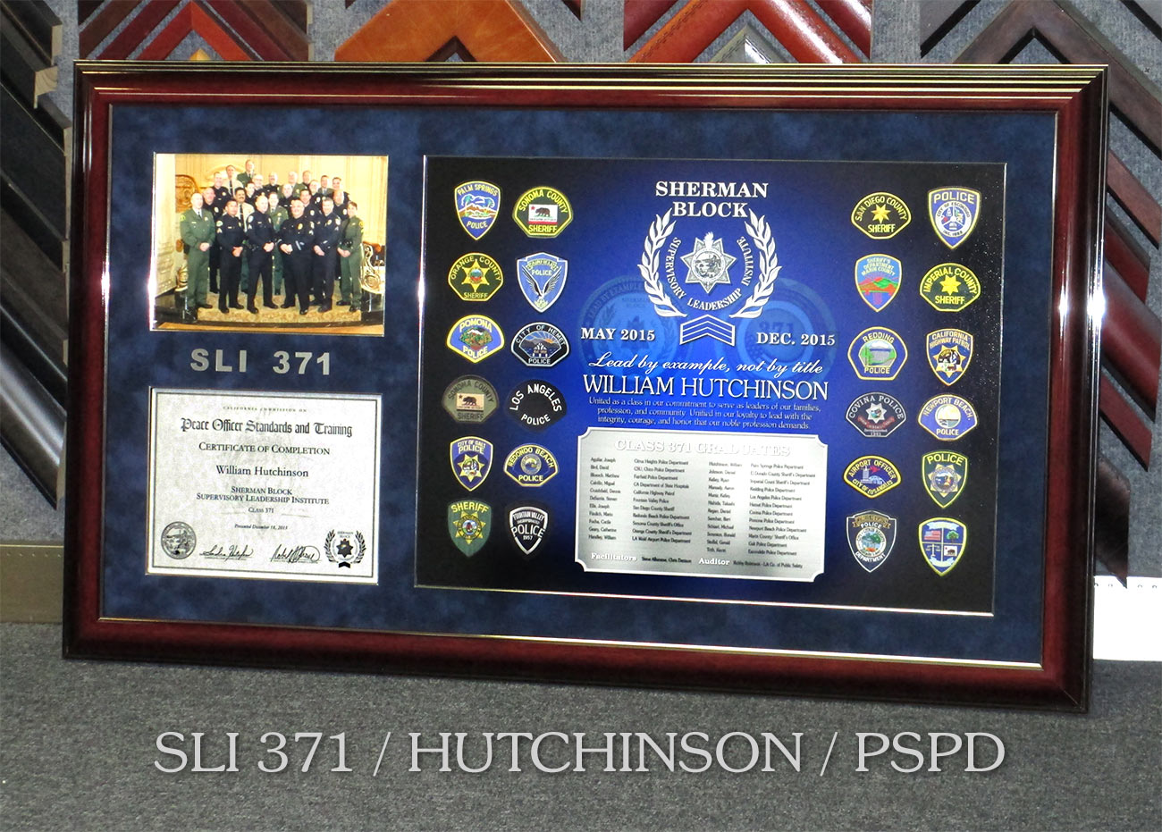SLI           Presentation from Badge Frame for William Hutchinson from Palm           Springs PD
