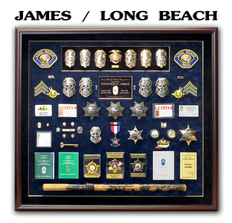 James / Long Beach PD - Police Retirement Shadowbox from Badge Frame