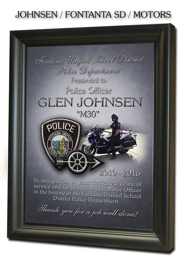 Johnsen - Fontana Unified           Motors PD - Recognition Plaque from Badge Frame