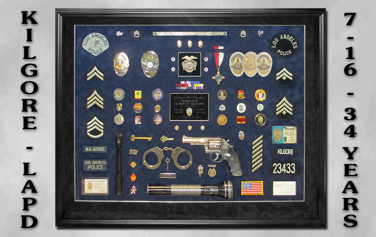 Kilgore with LAPD             Shadowbox, Badge frame LAPD Shadowbox