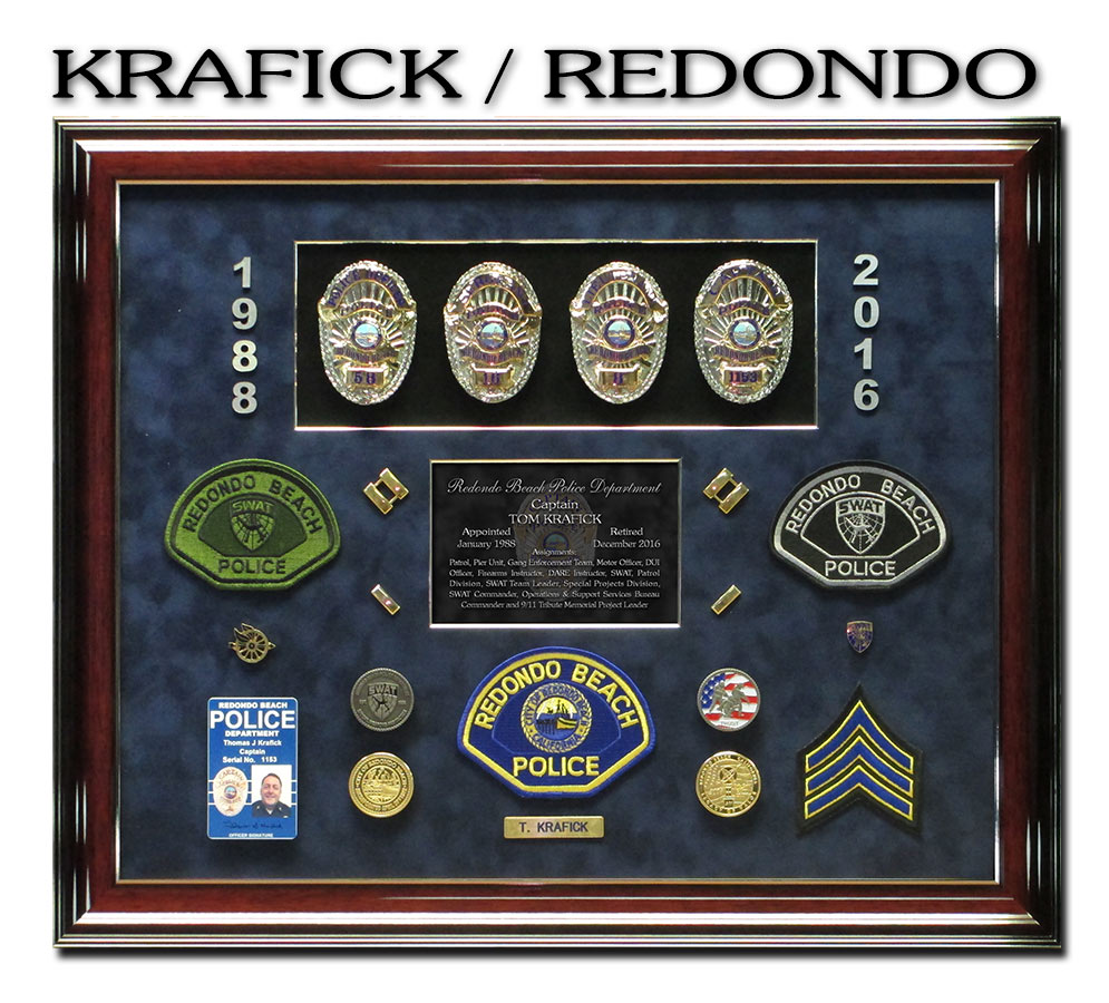 Krafick           - Redondo Beach Police Shadowbox from Badge Frame