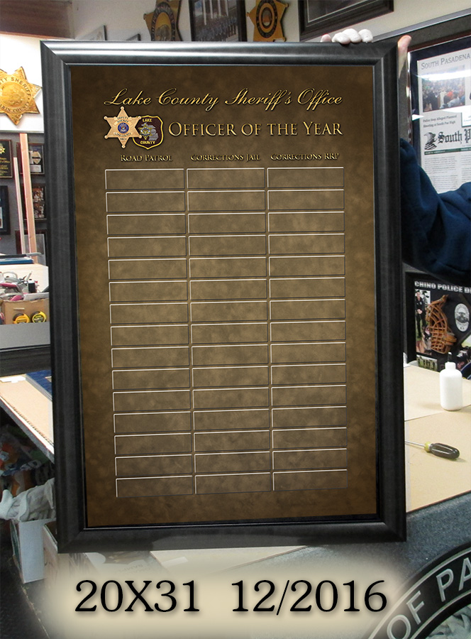 Lake County Sheriff Perpetrual               Plaque from Badge Frame