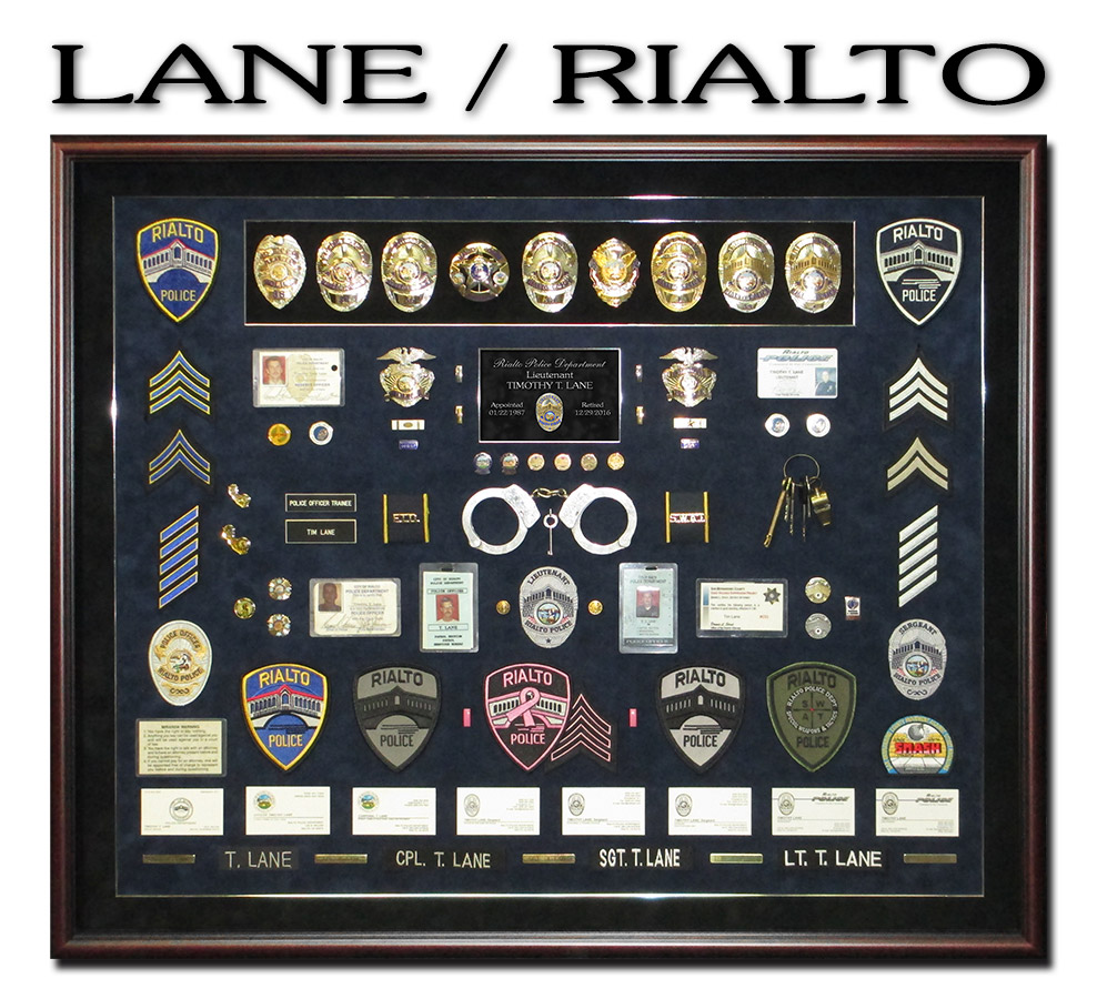 Lane -             Rilato PD police Retirement Presentation from Badge Frame -             Police Shadowbox