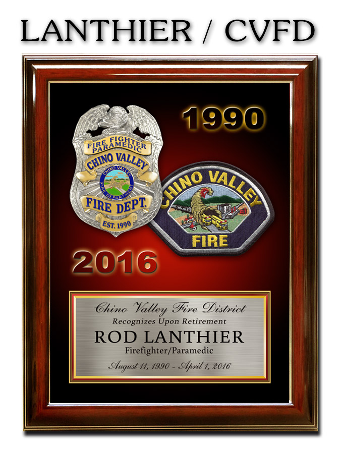 Lanthier - CVFD Recognition Plaque from Badge Frame