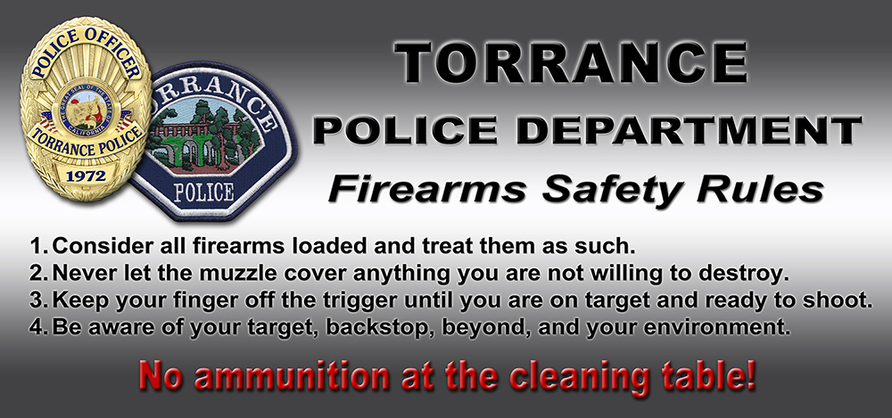 Firearms           Shooting Range Sign for Torrance PD from Badge Frame