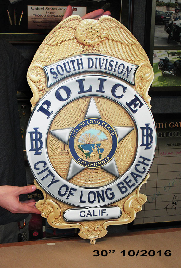 Long Beach PD - Oversize Badge from           Badge Frame 10/2016