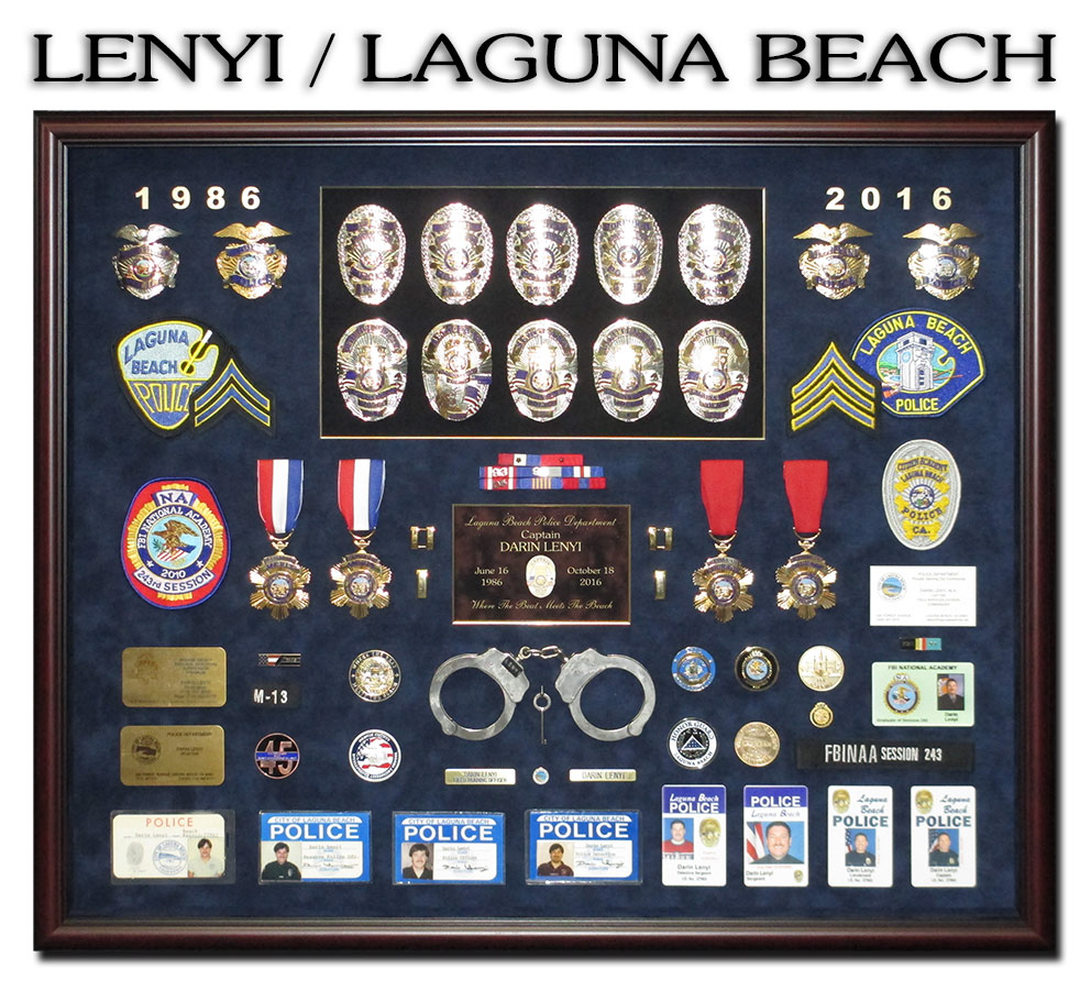 Police             Shadowbox from Badge Frame for Lenyi / Laguna Beach