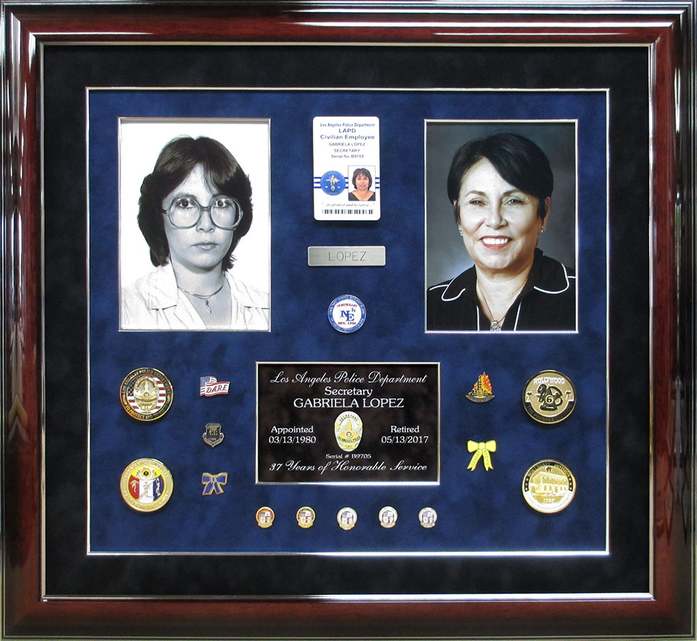 LAPD - Gabriela Lopez Police Retirement Shadowbox from Badge Frame