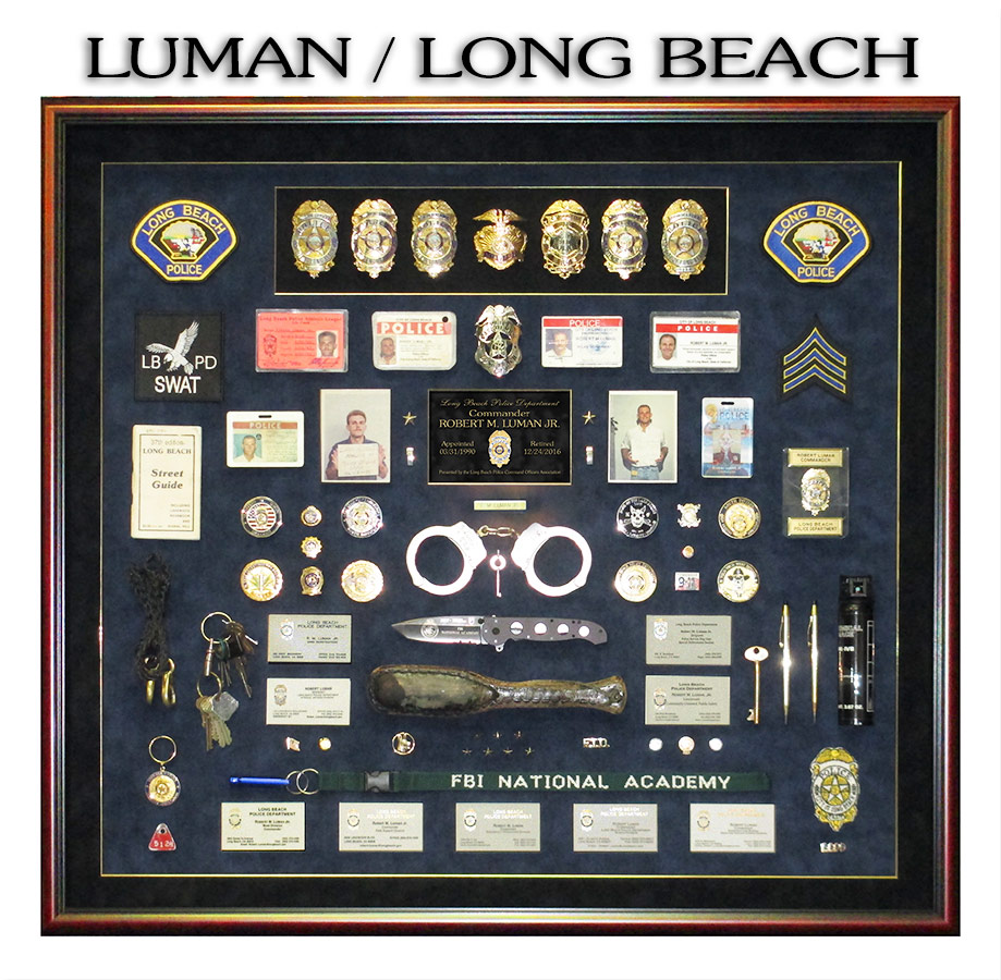 Police             Shadowbox from Badge Frame for Luman - Long Beach PD