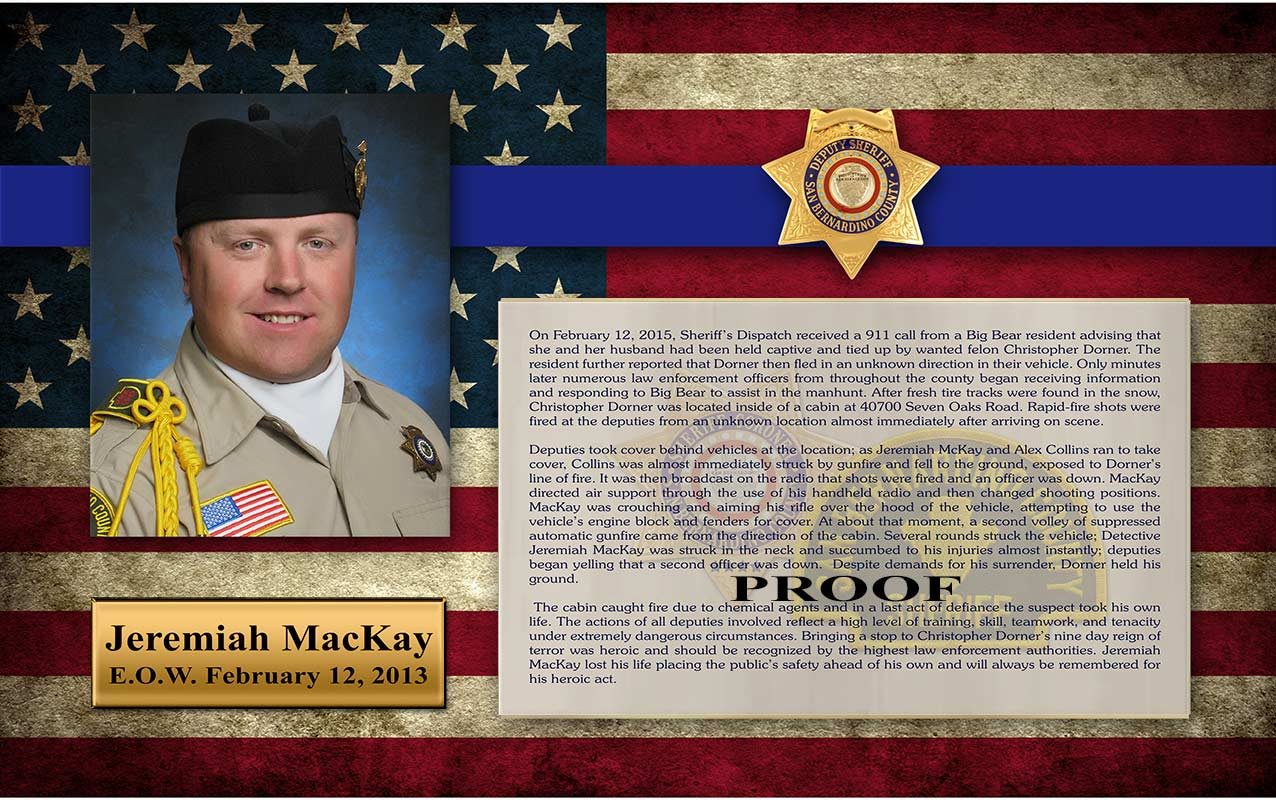 San Bernardino County Sheriff /           MacKay / E.O.W. presentation from Badge Frame - graphic           background options