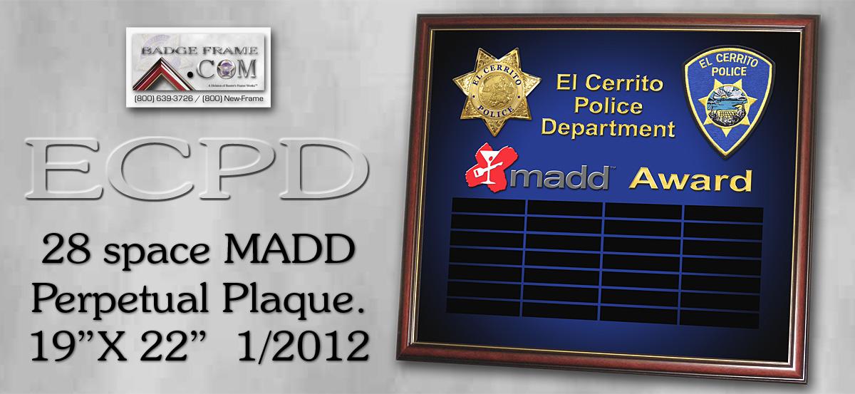 El Cerrito PD - MADD Perpetual Plaque