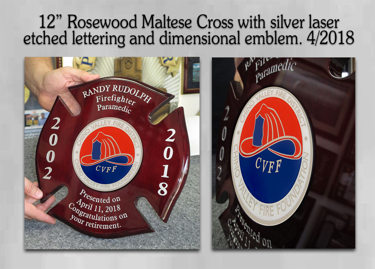 CVF - Maltese Cross Retirement Plaque from Badge Frame