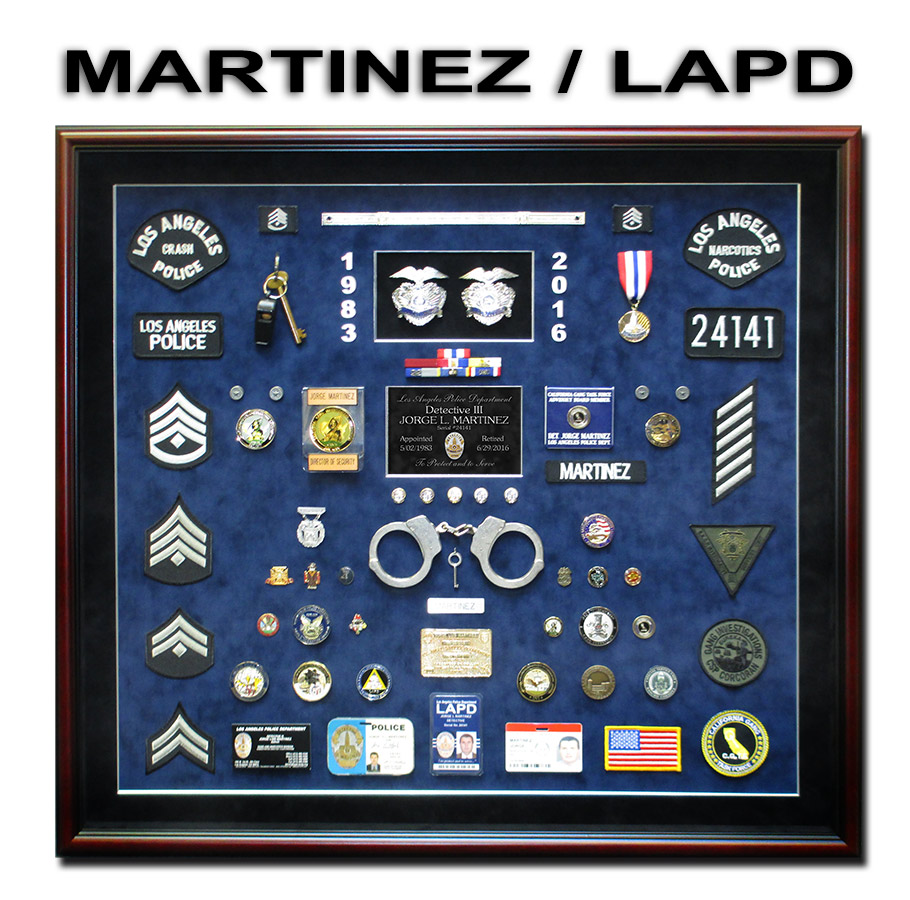 Martinez - LAPD Police Reirement Shadowbox from Badge Frame