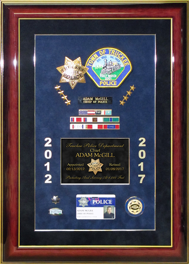 Police Chief Retirement Presentation from Badge Frame for McGill - Truckee PD
