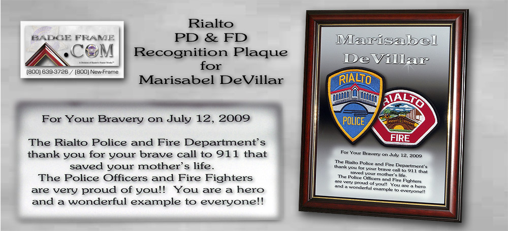 Rialto PD & FD               Recognition Plaque