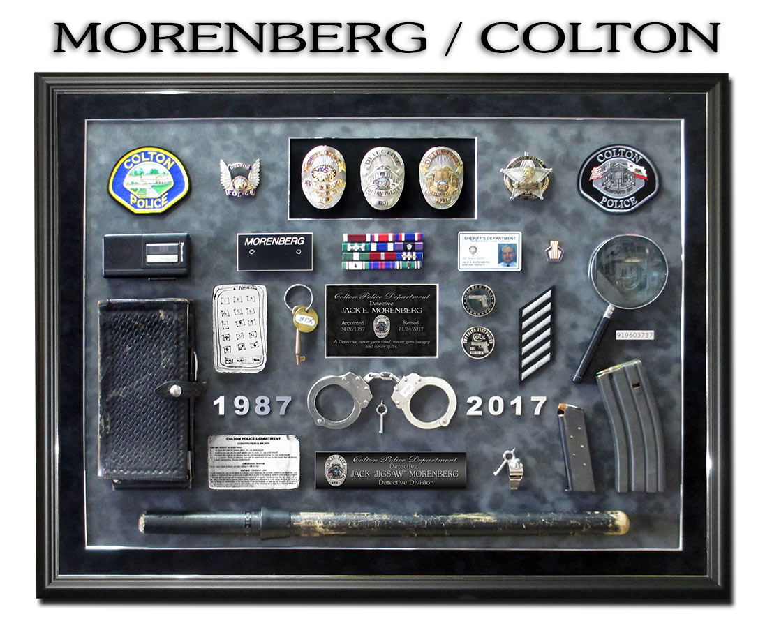 Police             Shadowbox from badge frame for Morenberg - Colton PD
