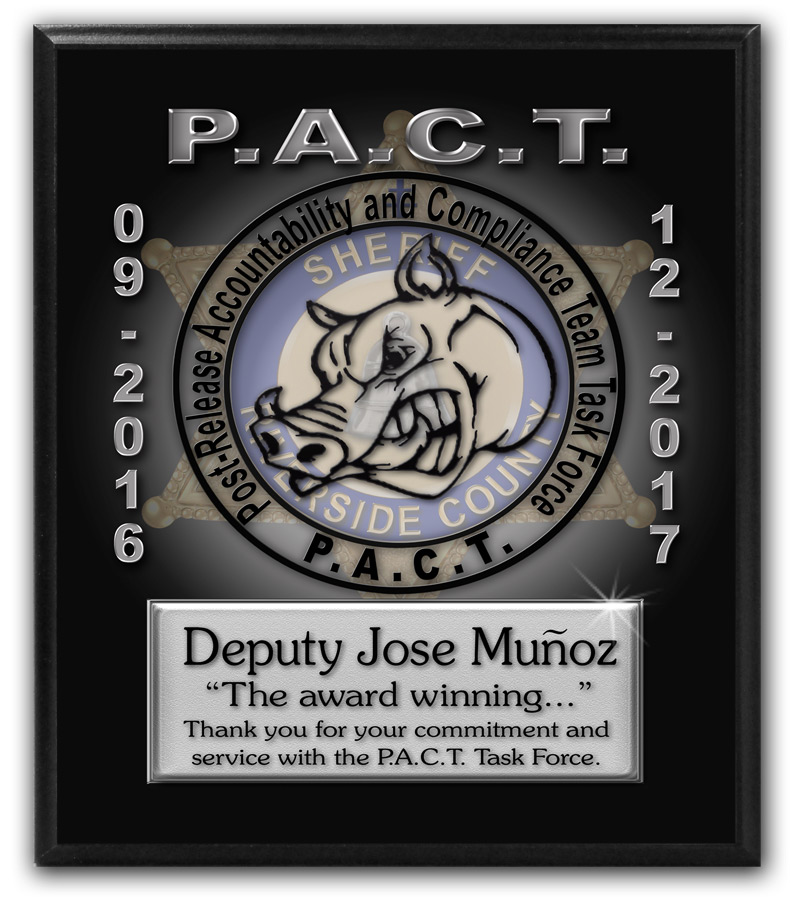 PACT - Munoz Recognition Plaque from Badge Frame