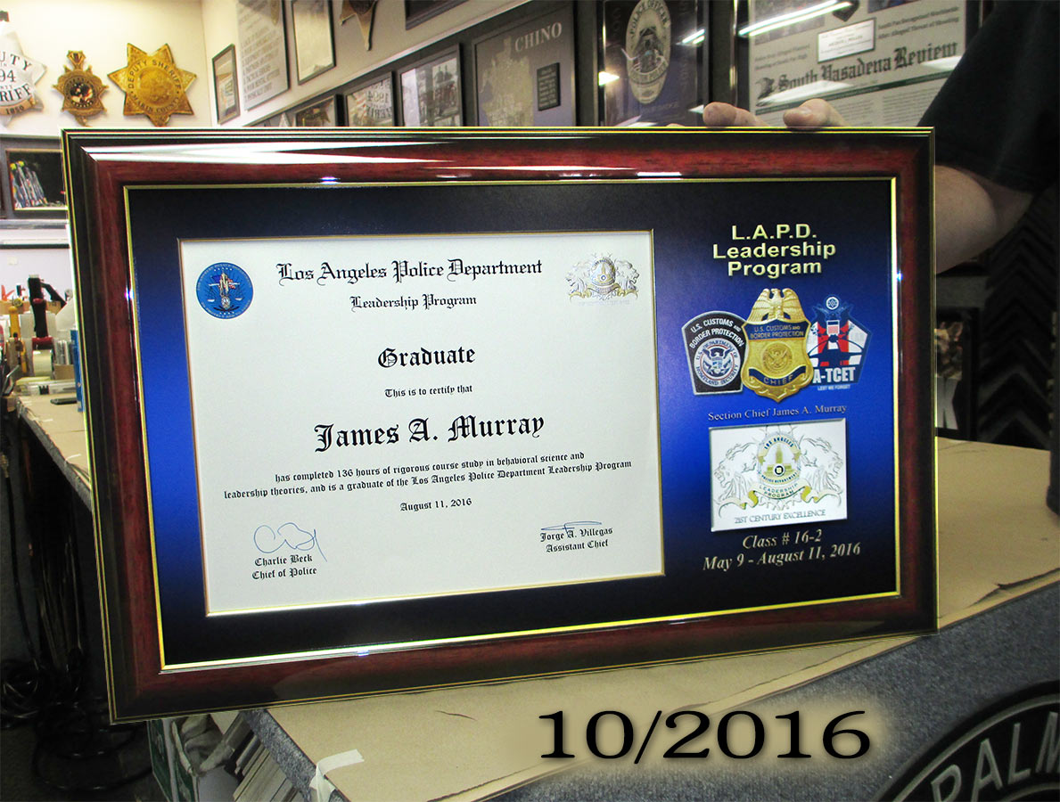 James Murray - LAPD Leadership Certificate from Badge Frame 10/2016