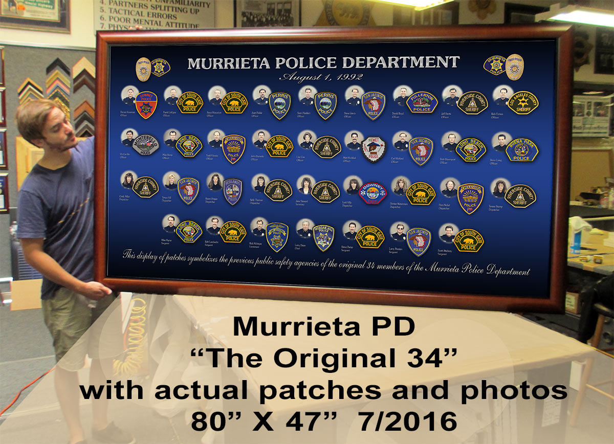 "Murrieta PD -                     ""The Original 34"" Badge Frame                     presentation. 7/2016"