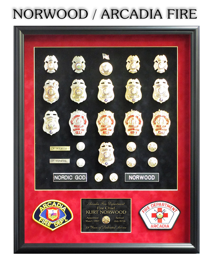 Norwood - Arcadia Fire Department Retirement Presentation from Badge Frame