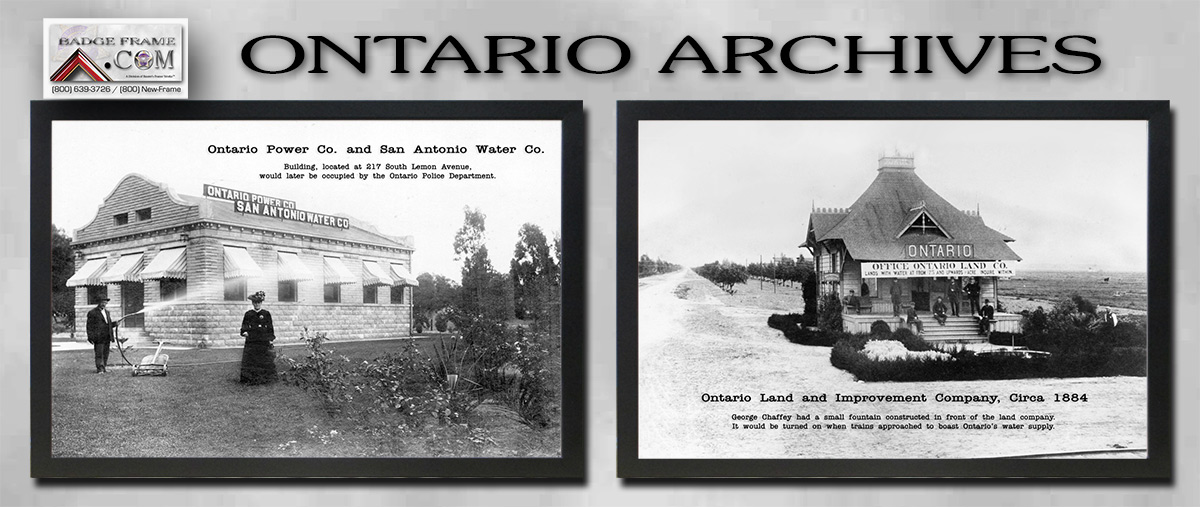 Ontario Archive Photos           framed in black leather from Badge Frame