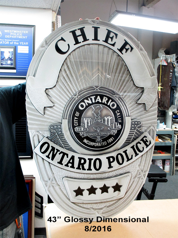 Ontario PD - Oversized Chief's                                   Badge from Badge Frame 8/2016