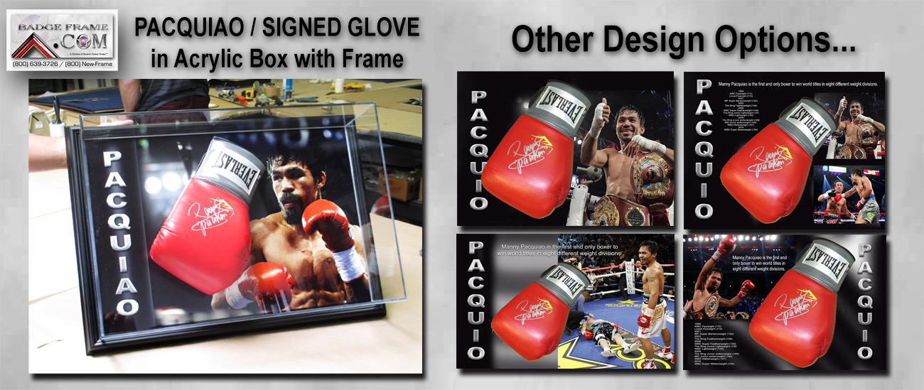Pacquiao Signed Glove with Acrylic Box from Badge Frame
