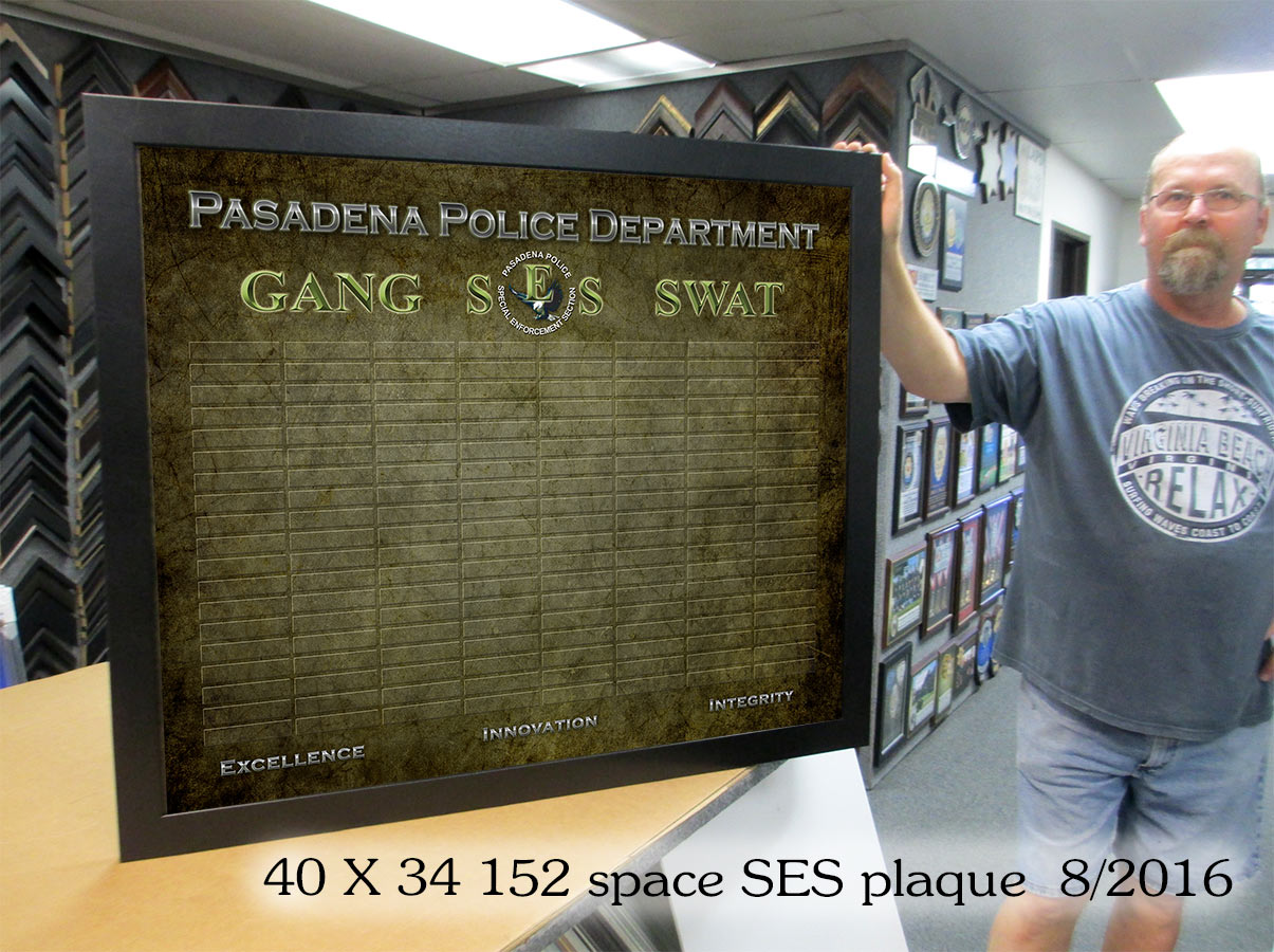 Pasadena PD SES Perpetual           Plaque from Badge Frame