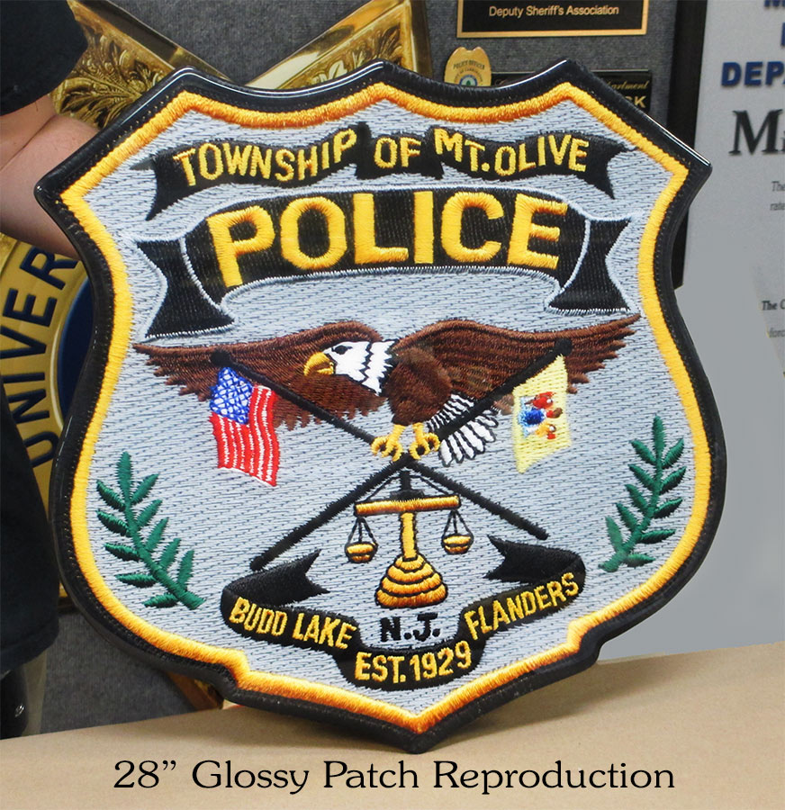 "Mount Olive PD Glossy 28"" Patch           from Badge Frame"