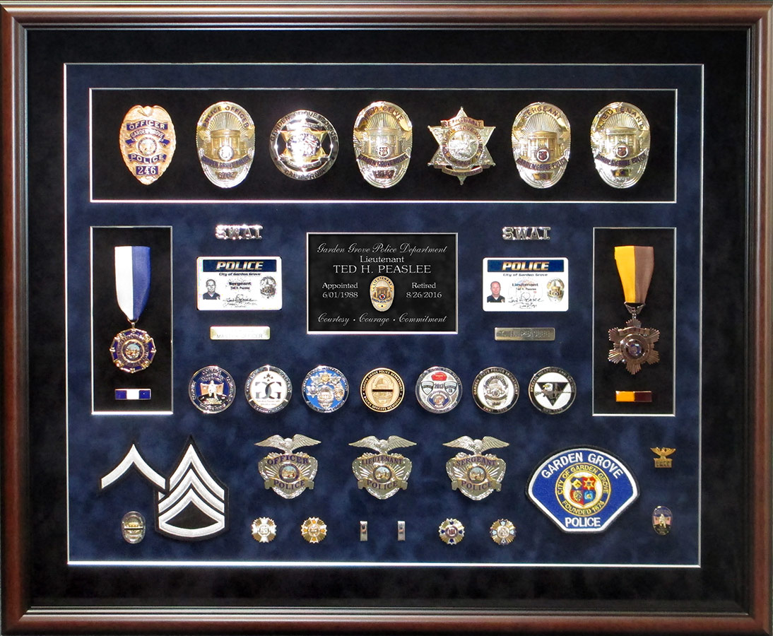 Peaslee -                             Garden Grove PD - Retirement Shadowbox from                             Badge Frame 8/2016