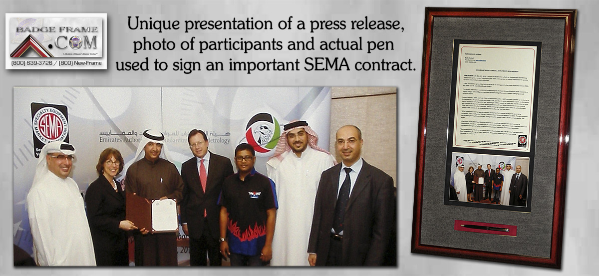 SEMA Press Release and Pen Presentation