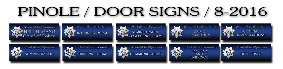 Pinole                             PD - Door Signs from Badge Frame 8/2016