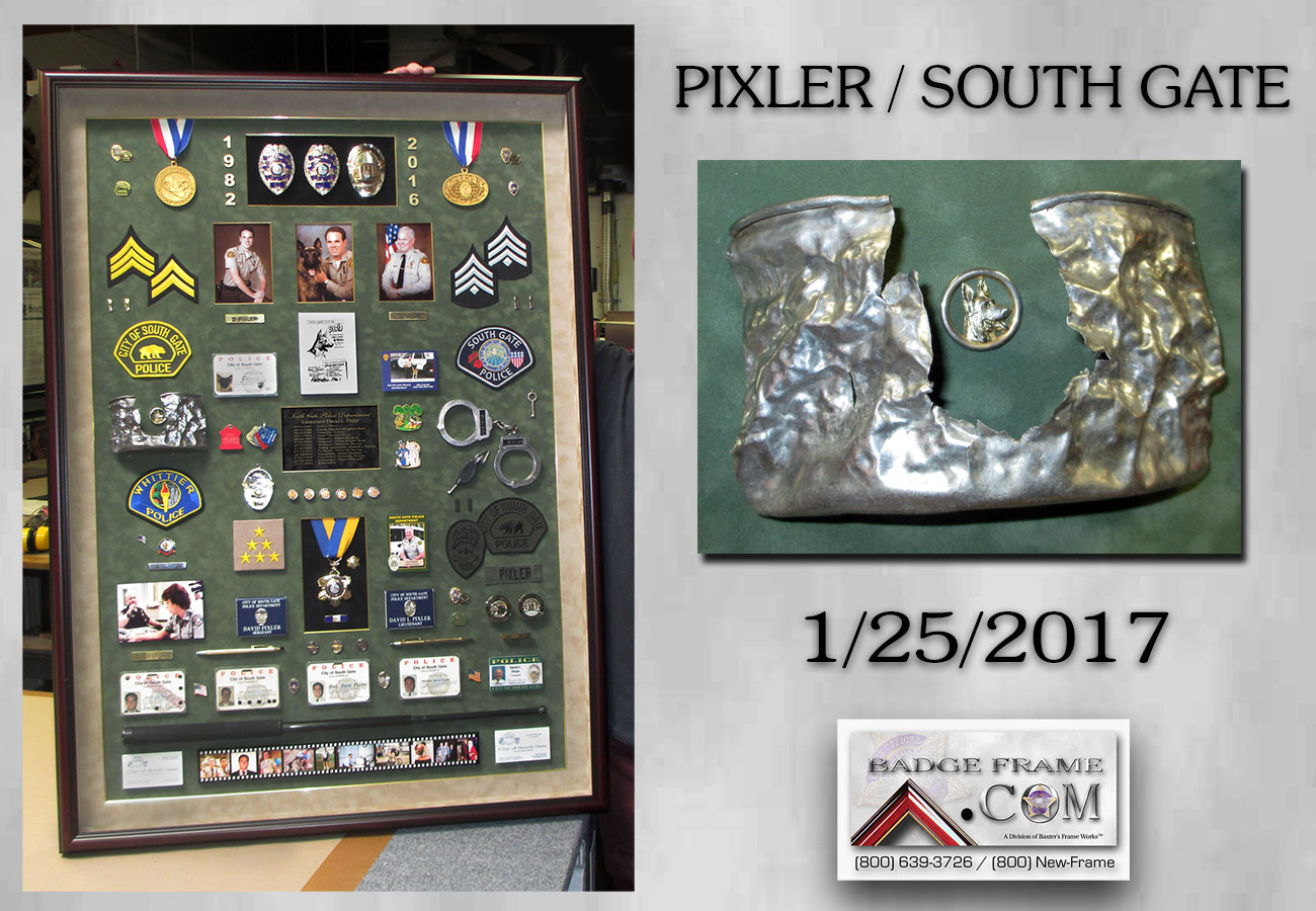 Pixer - South Gate           PD Police Retirement Shadowbox from Badge Frame